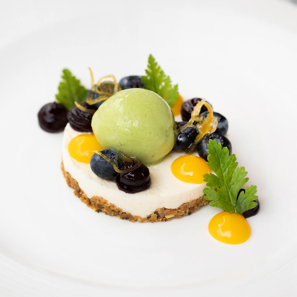 BRILLAT-SAVARIN CHEESECAKE, LEMON, BLUEBERRY, CUCUMBER SORBET